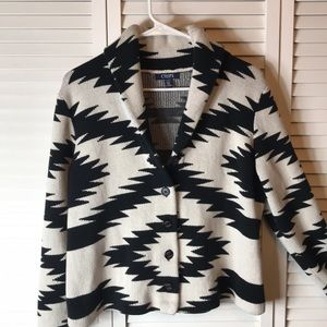 Chaps  Black and White Cardigan Design  Sweater